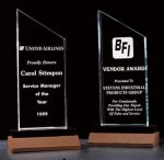 Zenith Summit Acrylic Award with Black Pedestal Walnut Base Achievement Acrylic Awards