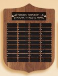 American Walnut Shield Perpetual Plaque Achievement Award Trophies