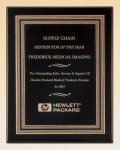 Black Piano Finish Plaque with Gold and Black Embossed Frame Achievement Award Trophies