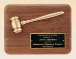 American Walnut Plaque with Antique Bronze Gavel Achievement Award Trophies