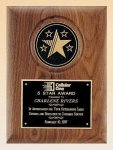 American Walnut Plaque with 5 Star Medallion Achievement Award Trophies
