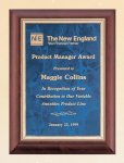 Cherry Finish Wood Plaque with Sapphire Marble Plate Achievement Award Trophies