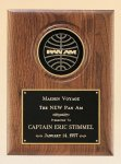 American Walnut Plaque with 4 Engravable Disk Achievement Award Trophies