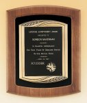 American Walnut Frame Plaque with Antique Bronze Frame Achievement Award Trophies