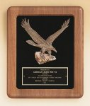American Walnut Frame Plaque with Eagle Casting Achievement Award Trophies