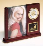 Rosewood Piano Finish Photo Desk Clock Boss Gift Awards