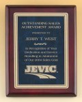 Rosewood Piano Finish Plaque with Marble Design Brass Plate Golf Awards