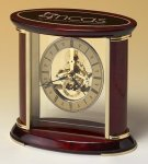Skeleton Clock with Brass and Rosewood Piano Finish Mantle Clocks