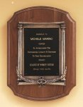 American Walnut Plaque with an Antique Bronze Casting Religious Awards