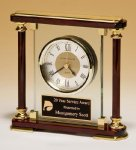 Piano-Finish Mantle Clock Rosewood Glass Awards