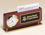 Rosewood Piano Finish Clock With Business Card Holder Secretary Gift Awards