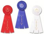 Classic Three Streamer Rosette Award Ribbon Victory Trophy Awards