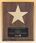 Walnut Stained Piano Finish Plaque with 8 Gold Star Walnut Plaques