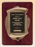 Rosewood Piano Finish Plaque with Antique Bronze Casting Wood Cast Awards